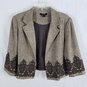 Karen Kane Tweed Blazer Swing Cropped Boho Brown